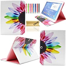 T530 Case,Galaxy Tab 4 10.1 Case, Dteck(TM) Ultra Slim Colorful Painting Design [High Quality Leather] Flip Stand Case Cover for Samsung Galaxy Tab 4 10.1 SM-T530 T531 T535 (Rainbow Flower)