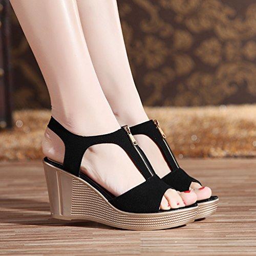 Toe Donna Peep Anguang Sandali Cerniera Scarpe Alto Elegante Nero con Scarpe con Tacco 0qSqf