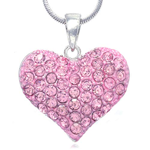Soulbreezecollection Love Red Heart Necklace Pendant Charm Women Jewelry (Pink) (Pink Love Necklace)