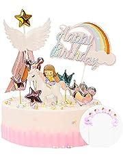 Kaimeilai 11 stuks taartdecoratie, eenhoorn, verjaardag, taart, regenboog, Happy Birthday, slinger, taarttopper, prinsessen-topper, verjaardagsdecoratie voor kinderen, meisjes, jongens en meisjes