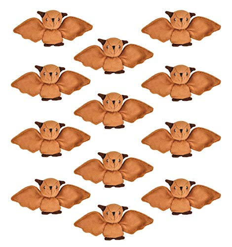 """Wildlife Tree 12 Pack Bats Mini 4"""" Small Stuffed Animals, Bulk Bundle Zoo Animal Toys, Forest Party Favors for Kids ()"""