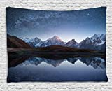 Lunarable Star Tapestry by, Night Sky with Milky Way over a Mountain Landscape Lake Cosmos Galaxy Scenery Universe, Wall Hanging for Bedroom Living Room Dorm, 80 W X 60 L Inches, Brown Blue
