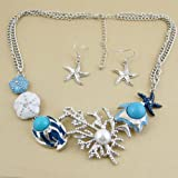 Blue Sea Life Necklace Earring Jewelry Set