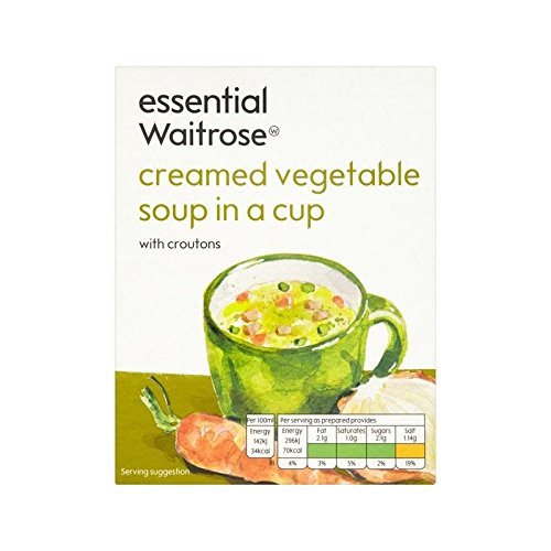 Creamed Vegetable Cup Soup essential Waitrose 4 x 18g - Pack of 6