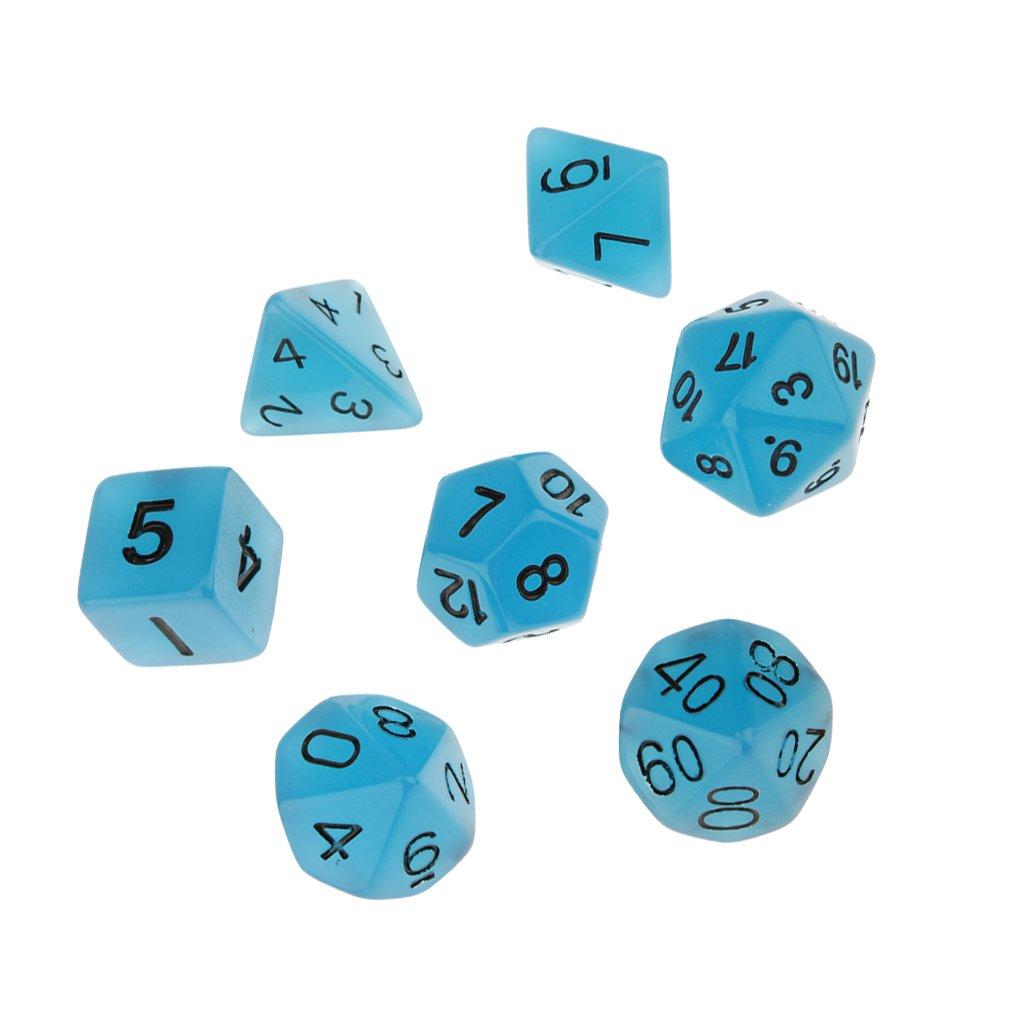 7pcs Glühen Im Dunklen Würfel D4 D6 D8 D10 D12 D20 D & D-RPG-Spiel Gesetzt Blau - Blau Generic