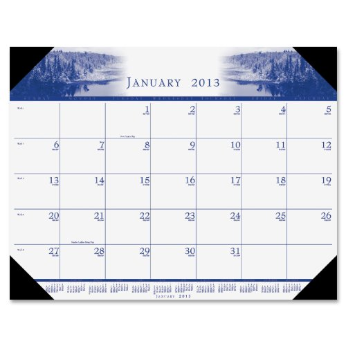 House of Doolittle Mono-Color Photo Monthly Desk Pad Calendar, 2013, 22