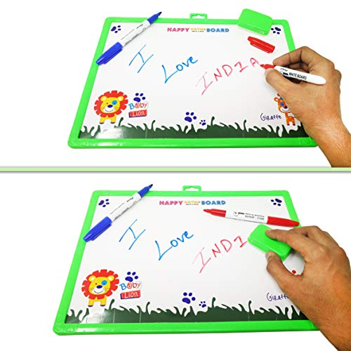 Parteet Educational Combo Pack of 2 Big Two in One Slate with White & Black Board for Kids