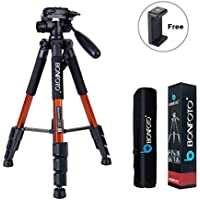 BONFOTO Q111 55 Professional Compact Lightweight Travel SLR Camera Tripod with Pan Head Plate and Phone Holder Mount for Canon Nikon Sony DSLR Camera Video with Carry Case (Orange)