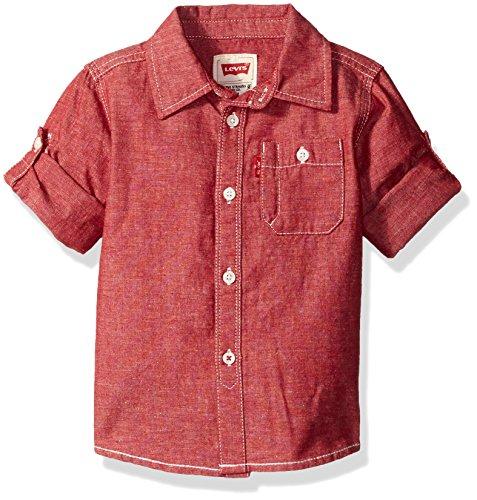 Levi's Boys' Long Sleeve One Pocket Denim Shirt, Red Chambray, 18 Months