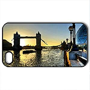 Evening in London - Case Cover for iPhone 4 and 4s (Modern Series, Watercolor style, Black)