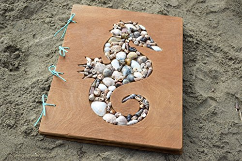 Seashell Wedding Guest Book - Wedding guestbook Seashell Wedding registry book Rustic Seahorse book Nautical book Travel album Seashell decor Kids photo album Personalized guest book scrapbook Wedding photo album Ocean art