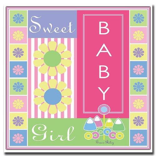 Trademark Fine Art Sweet Baby Girl by Grace Riley Canvas Wall Art, 18x18-Inch