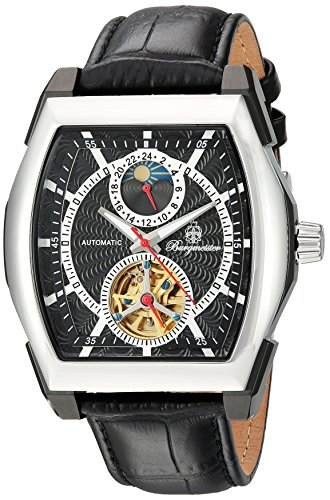 Burgmeister Men's Automatic Stainless Steel and Leather Casual Watch, Color:Black (Model: BM222-622) (Tonneau Automatic Watch)