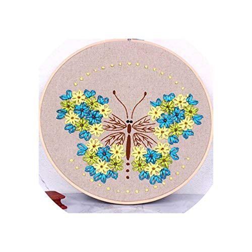 (1pc DIY Ribbons Embroidery for Beginner Needlework Kits Cross Stitch Colorful Flowers Wall Art Home Decor Meet Sets,mc4)
