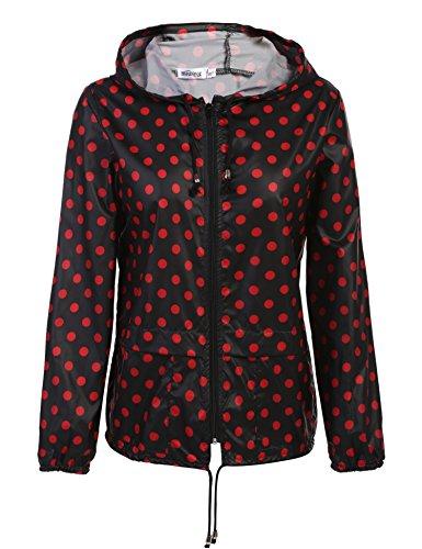 Damen Jacke Übergangsjacke Regenjacke mit Kapuze Tasche Regenparka Funktionsjacke Wasserdicht Atmungsaktiv