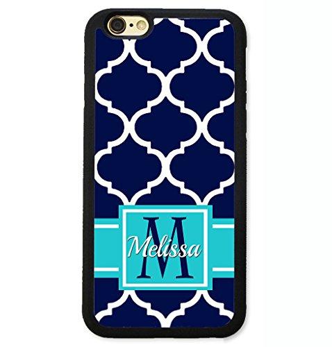 iPhone 6S Plus Case, iPhone 6 Plus Case, ArtsyCase Navy Blue Teal Moroccan Trellis Monogram Personalized Name Phone Case - iPhone 6 Plus and iPhone 6S Plus (Black)