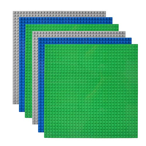 """Lekebaby Classic Baseplates Building Base Plates for Building Bricks 100% Compatible with Major Brands-Baseplates 10"""" x 10"""", Pack of 6"""