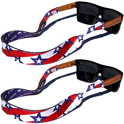TORTUGA STRAPS FLOATZ RF Stars & Stripes Glasses Strap - 2 Pk | Floating Adjustable Sunglass Straps | Soft & Comfortable Dual Sided Fabric | 3MM Neoprene Base for Added - Sunglasses Fabric