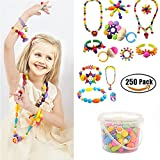 Arts & Crafts : 250 Pcs Arty Snap Beads Set with Storage Box, Creative DIY Jewelry Kit for Kids Toddlers Girls Handed Make Necklace Earrings Bracelets Rings,Idea Gift Toys for 4-12 Year Old Girl