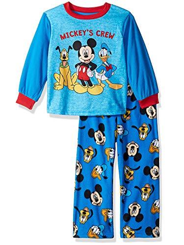 Mickey Mouse Pluto Donald Duck Toddler Boys Fleece Pajamas Set (4T, Blue/Red)