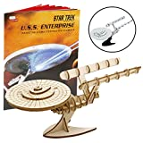 Star Trek Original U.S.S. Enterprise Book and 3D Wood Model Kit - Build, Paint and Collect Your Own Wooden Model - Great For Kids and Adults,10+ - 7.5'' x 9''