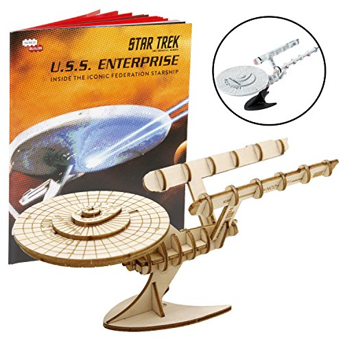 (IncrediBuilds Star Trek Original U.S.S. Enterprise Book and 3D Wood Model Kit - Build, Paint and Collect Your Own Wooden Model - Great for Kids and Adults,10+ - 7.5