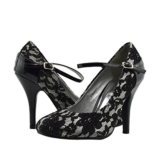 Kick Footwear - Damen Hochzeit Brautjungfer High Heel Damen Party Pumps Silber -Schwarz