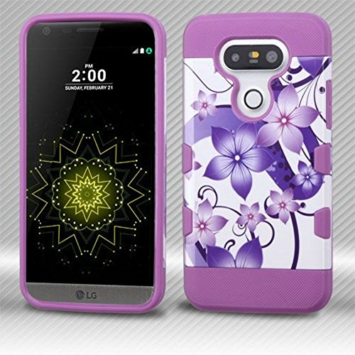 Asmyna Cell Phone Case For Lg G5 Purple Hibiscus Flower Romance