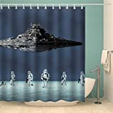 LIGHTINHOME Kids Shower Curtain For Star Wars Battleship Movie Polyester Waterproof Fabric Mildew Resistance Functional Shower Panel Eco-Friendly 72 x 72 Inches 12-Pack Plastic Shower Hooks Included