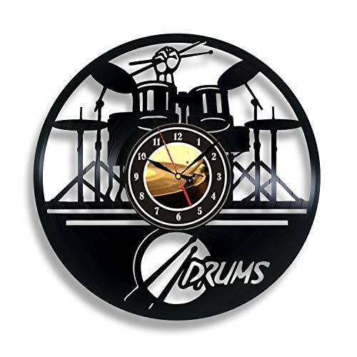 Guitar Drums Set Vinyl Record Wall Clock Music Instrument Notes Wall Clock Home Decor Vintage Wall Watch Music Lover Gift ()