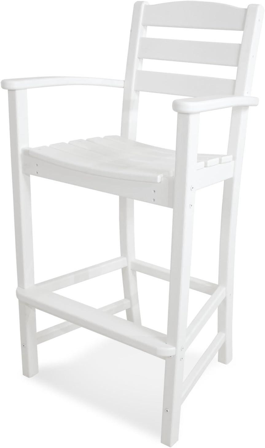 POLYWOOD TD202WH La Casa Caf Bar Arm Chair, White