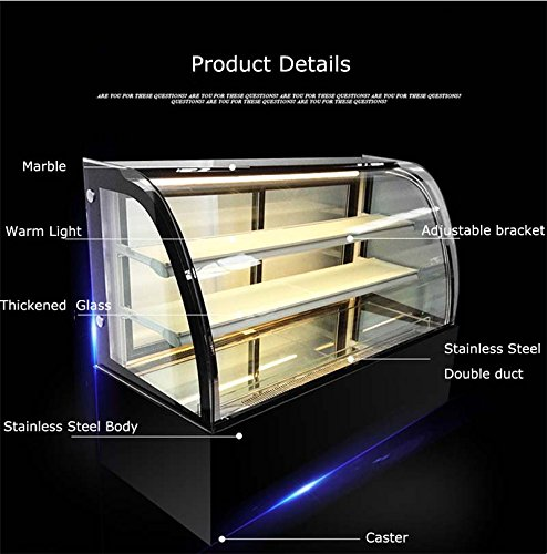 Refrigerated Display Case - New Refrigerated Cake Showcase Curved Commercial Pie Display Case Cabinet Cooler Bakery Display(Item#210077)