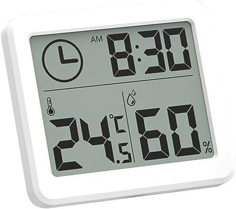 Esplic Digitales Thermometer-Hygrometer, Temperatur-, Feuchtigkeits- und  Uhr-8-in-8-Recorder für Wohnzimmer, Schlafzimmer, Arbeitszimmer,  Badezimmer,