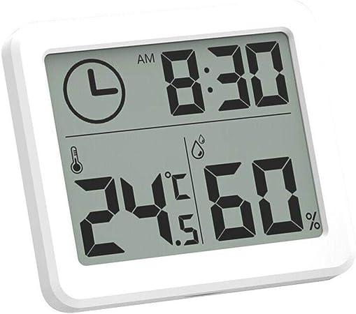 Esplic Termómetro Digital Higrómetro, Temperatura, Humedad y Reloj Grabadora 3 en 1 para Sala de Estar, Dormitorio, Estudio, baño, Cocina, Granja: Amazon.es: Hogar