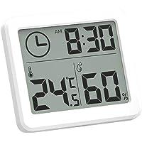 Esplic Termómetro Digital Higrómetro, Temperatura, Humedad y Reloj Grabadora 3 en 1 para Sala de Estar, Dormitorio…
