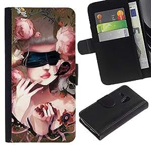 Ihec-Tech / Flip PU Cuero Cover Case para Samsung Galaxy S3 MINI NOT REGULAR! I8190 I8190N - Cute Baroque Woman