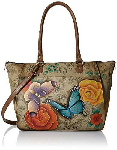 Anna by Anuschka Tote Bag | Genuine Leather | Large, Floral Paradise Tan ()