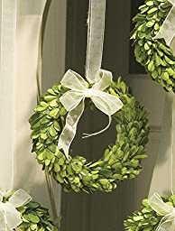 PG WREATH W/WHITE RIBBON SM, 6x1x6 Inches by Napa