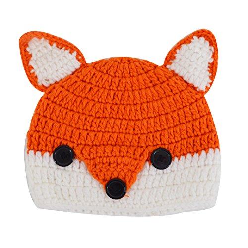 Adela Boutique Baby Girls Boys Warm Hats Cute Fox Animal Hats Handmade Crochet Coif Hood Beanies Cap for Spring Autumn Winter (Orange)