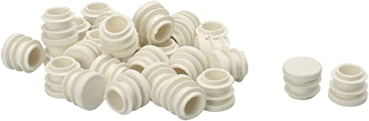 Plastic Round Tube Insert Ribbed End Cover Cap White 40pcs Furniture Protector