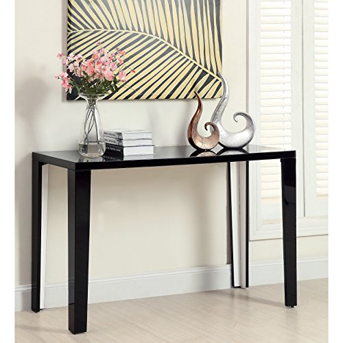 Euro Modern Black Gloss Lacquer Console Sofa Hallway Accent Table Includes ModHaus Living (TM) - Eileen Gray Corbusier Le