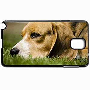 Customized Cellphone Case Back Cover For Samsung Galaxy Note 3, Protective Hardshell Case Personalized Dog Grass Anticipation Eyes Face Black