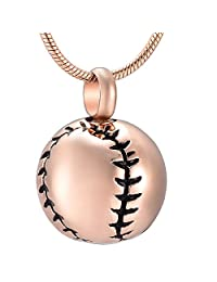 Stainless Steel 20mm Baseball Memorial Urn Jewellery Pendant Hold Cremation Keepsake Necklace for Ashes