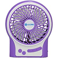 Momoday Mini Portable Electric Personal Fans LED Lights Function Fans Wireless USB Rechargeable Desk Table Fan 3 Modes Speed Adjustable with 18650 Rechargeable Battery For Office Or Car use (Purple)