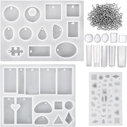 Mtlee 13 Pieces Assorted Designs Resin Casting Molds Silicone Jewelry Making Molds Set with 100 Pieces Mini Screw Eye Pins for Jewelry Pendants DIY (Star Ornament Pattern)