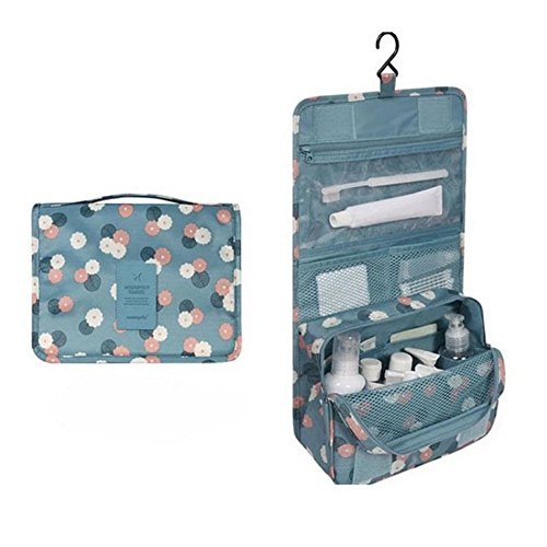 Toiletry Bag Multifunction Cosmetic Bag Portable Makeup Pouch Waterproof Travel Hanging Organizer Bag for Women Girls (blue)
