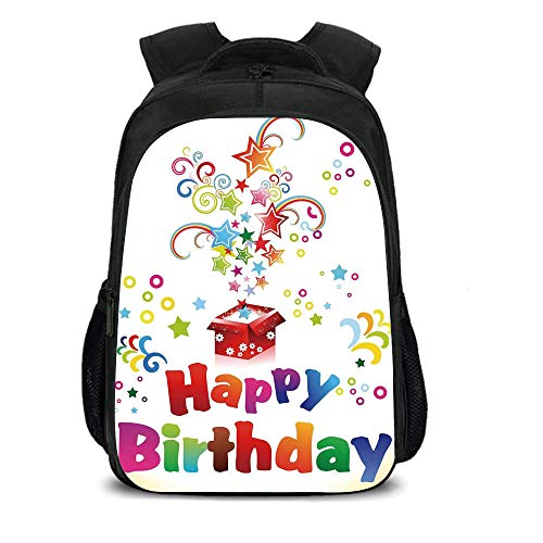 iPrint 15.7'' School Backpack,Birthday Decorations,Stars Swirls Spirals Circles Coming Out of Present Surprise Happiness,Multicolor,for Teenagers Girls Boys by iPrint
