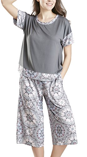 Summer Pajamas for Women - Stylish Print Ladies Pajama Set, Oversized Shirt Capri Lounge Pants, Day Dream Medium