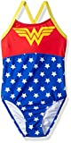 Warner Bros. Big Girls' Wonderwoman Swimsuit, Red, 5/6