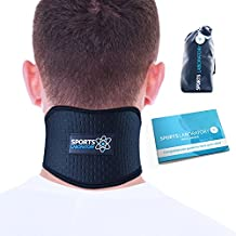 SPORTS LABORATORY Neck Support Brace for Neck Pain with Self Heating Magnets & Tourmaline Adjustable Cervical Collar (Regular (11-17 inch))